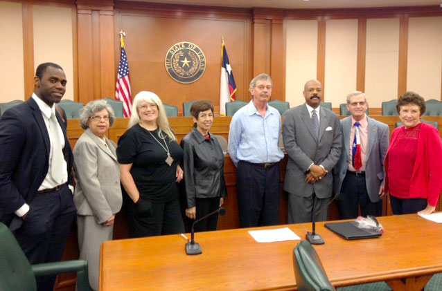 [l-r] Harrison Hiner, Mary Esther Escobedo, Anitra Patterson, Yolanda Delgado, Will Rogers, Subcommittee member State Rep Borris Miles (Houston area), Jerry Wald and Linda Wilson.
